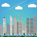 Big city skyline heavy rush hour traffic daylight blue colors levels of skyscprapers as downtown with cars color set illustration Stock Photo