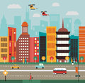 Big city street vector illustration Stock Photo