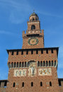 big clock tower of Castle called Castello Sforzesco in Italy Royalty Free Stock Photo