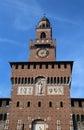 big clock tower of Castle called Castello Sforzesco in Milan Royalty Free Stock Photo