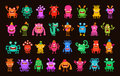 Big collection of cartoon funny monsters. Vector illustration Royalty Free Stock Photo