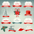 Big collection of christmas icons and design eleme elements vector illustration Stock Photo