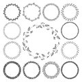 Big collection of circle cute hand drawn floral