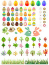 Big collection of different easter eggs and trees Stock Photos