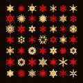 Big collection of elegant gold and red snowflakes silhouette isolated on black background.Set of elements for christmas
