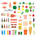 Big collection of food items elements for design icons Stock Photography