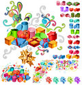 Big Collection of Gift Boxes Stock Photo