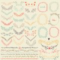 Big collection of hand drawn floral graphic design elements and lines border in retro style Royalty Free Stock Photo