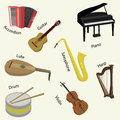 Big collection of music instruments