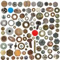Big collection old rusty Screw heads, bolts, steel Royalty Free Stock Photography