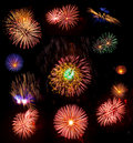 Big collection of real fireworks isolated on black Royalty Free Stock Photo