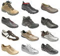 Big collection of sport shoes Stock Photo