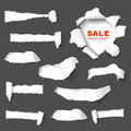 Big collection of torn paper set holes in dark gray with sides over white background with space for text realistic vector with Royalty Free Stock Images