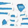 Big collection of torn paper set holes in white with sides over background with space for text realistic vector with ripped Stock Photos
