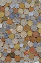 Big collection of various coins Royalty Free Stock Images
