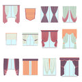 Big collection of various window decoration curtains in flat style. Home interior curtain isolated on white. Vector