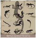 Big collection of vector reptiles silhouettes isolated Royalty Free Stock Photography