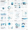 Big colletion of blue infographic business vector elements Royalty Free Stock Photo