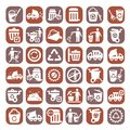 Big color garbage icons and cleaning set created for mobile web and applications Royalty Free Stock Photography