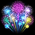 Big colorful fireworks. Multicolored lights. Vector