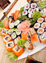 Big Colorful Plate of Sushi Royalty Free Stock Photo