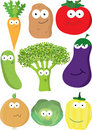 Big colorful set of cartoon vegetables. Royalty Free Stock Images