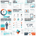 Big colorful set of infographic business elements in vector format eps Stock Image