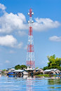 Big Communication Tower in Tonle Sap Lake,  Cambod Royalty Free Stock Photo