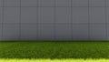 Big Concrete Bricks Wall and Green Grass Floor Royalty Free Stock Photo