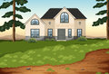 A big concrete single detached house illustration of Stock Photos