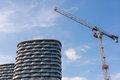 Big construction crane with two high-rise modern apartment Royalty Free Stock Photo