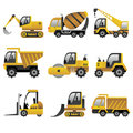 Big construction vehicles icons a vector illustration of icon sets Royalty Free Stock Photos