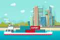 Big container ship sailing in ocean or sea port with lots of cargo containers vector illustration, flat carton shipping