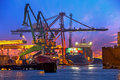 Big cranes at sunset the unloading of a container ship a large harbor terminal Stock Images