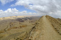 The big crater in negev desert israel national trail on edge of Royalty Free Stock Photo