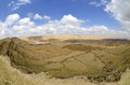 The big crater in negev desert israel national trail on edge of Royalty Free Stock Image
