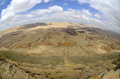 The big crater in negev desert panoramic landscape of israel Royalty Free Stock Image
