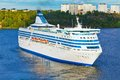 Big cruise liner in harbor of Stockholm, Sweden Royalty Free Stock Photo