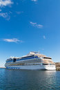 Big cruise ship long travel blue sky and water Royalty Free Stock Images