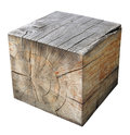 The big cube is cut out from a trunk of an old oak Royalty Free Stock Photo