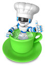 A big cup in the best blue chef robot gestures Stock Photo