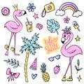 Big cute summer stickers set with flamingos, ice cream, watermelon, pineapple, rainbow, lemonade, cherry. Royalty Free Stock Photo