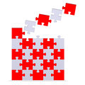 Big 3d puzzle with flying missing pieces Royalty Free Stock Photo