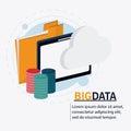 Big data center base and web hosting icon set
