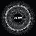 Big data circular grayscale visualization. Futuristic infographic. Information aesthetic design. Visual data complexity.