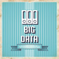 Big data concept on blue in flat design with icon of folders and slogan striped background vintage Royalty Free Stock Photography