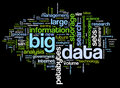 Big data concept in word cloud tag on black background Royalty Free Stock Photography
