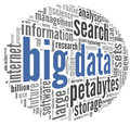 Big data concept in word cloud tag on black background Royalty Free Stock Images