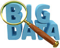 Big data find information analysis magnifying glass to search for it trends Royalty Free Stock Photo