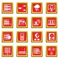 Big data icons set red